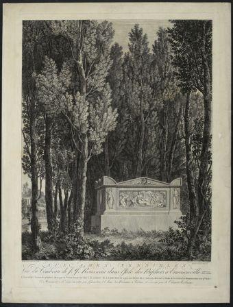Aux âmes sensibles, vue du tombeau de Jean-Jacques Rousseau dans l'Isle des Peupliers à Ermenonville