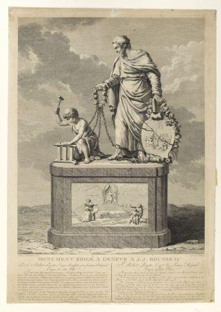 Monument érigé à Genève à Jean-Jacques Rousseau, dédié à Robert Pigott, écryer anglais par Jacques Argard, citoyen de cette Ville