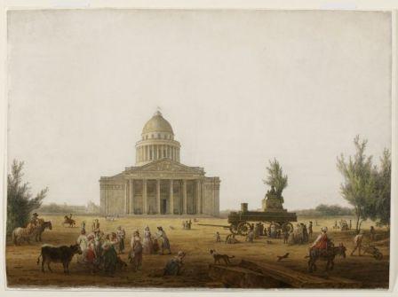 Vue du Panthéon avec le char de la pompe-funèbre de Jean-Jacques Rousseau