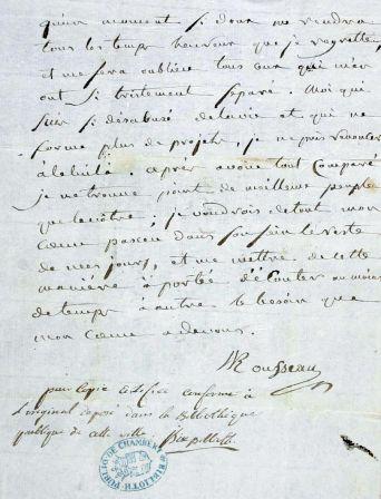 Lettre manuscrite de Jean-Jacques Rousseau, 1763