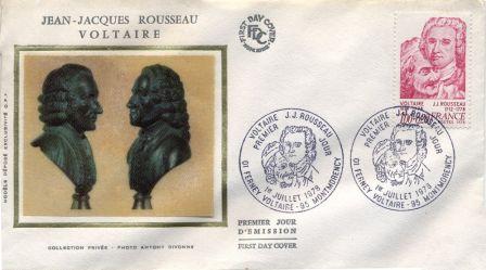 Enveloppe et timbre-poste : Jean-Jacques Rousseau, Voltaire