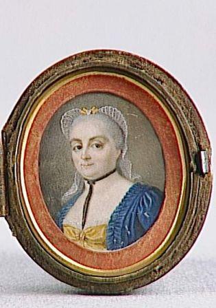 Miroir et son étui en galuchet, à l'intérieur : Mme de Warens