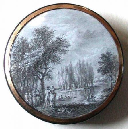 Boîte ronde avec miniature représentant le premier tombeau de Jean-Jacques Rousseau à Ermenonville