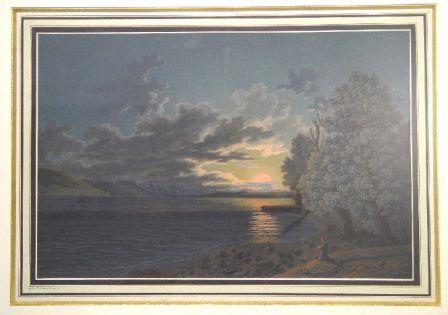 Portrait de Rousseau contemplant le lac de Bienne au crépuscule