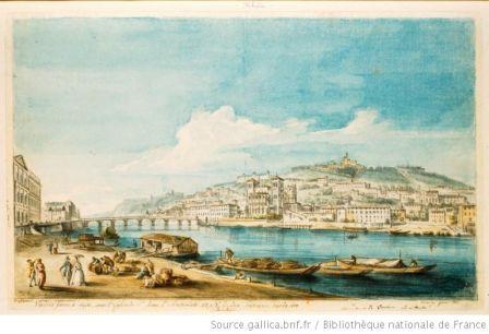 Vue de la Saone à Lyon, avec l'Église de S. Jean ; l'Archevêché ; et N.D. des Fourcières [i.e. de Fourvière] sur la cote...