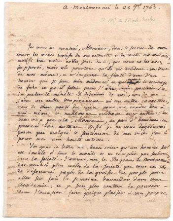 Lettre de Rousseau à Malesherbes