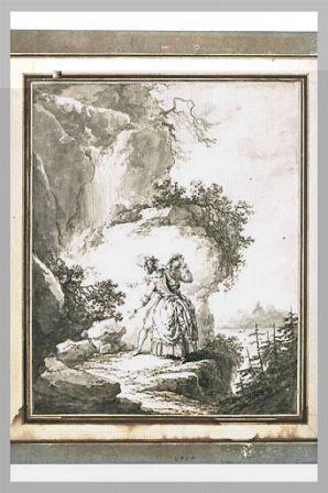 Madame de Wolmar et Saint-Preux sur les rochers de la Meillerie